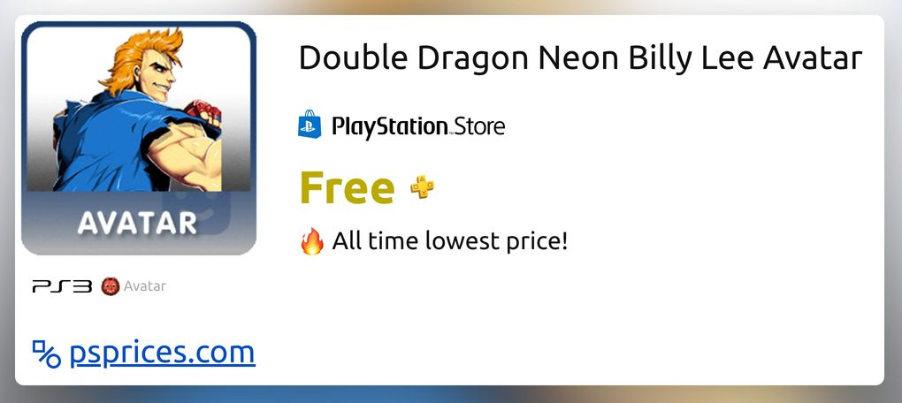 Double Dragon Neon Billy Lee Avatar For Ps3 Buy Cheaper In
